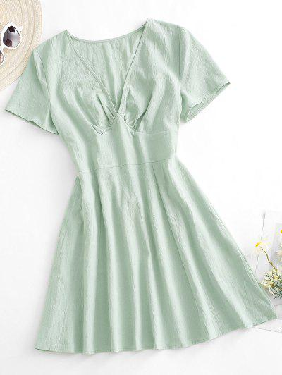 ZAFUL Plunge Mini A Line Dress - Light Green L