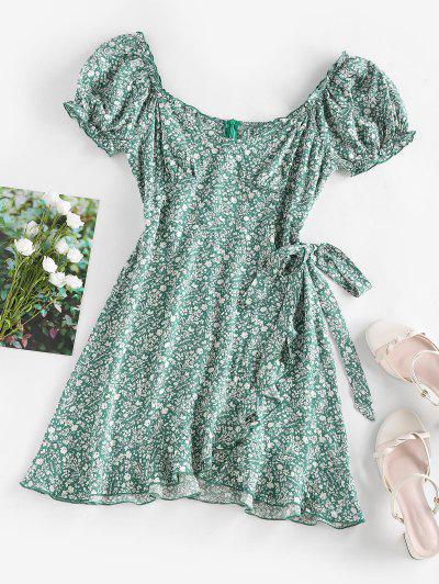 ZAFUL Ditsy Print Ruffle Puff Sleeve Bowknot Dress - Green S
