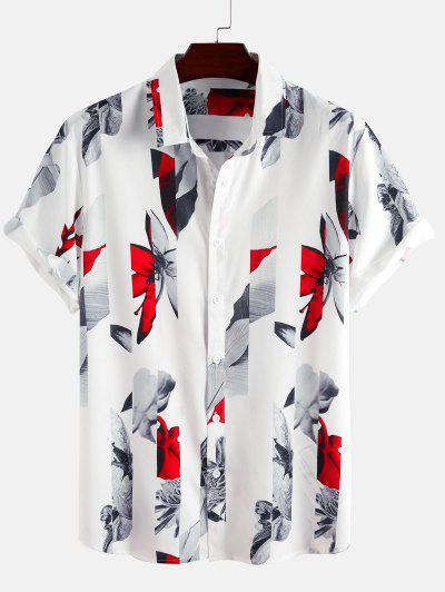 Short Sleeve Flower Shirt - White 2xl