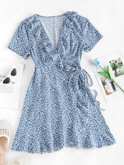 ZAFUL Ditsy Floral Ruffled Tie Wrap Dress - Light Blue L
