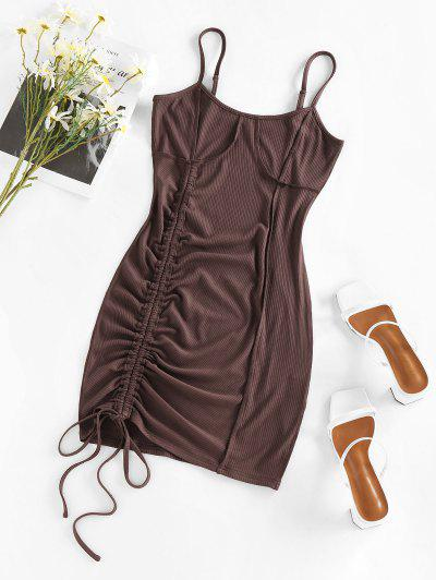 ZAFUL Cinched Stitching Bodycon Slip Dress - Coffee M