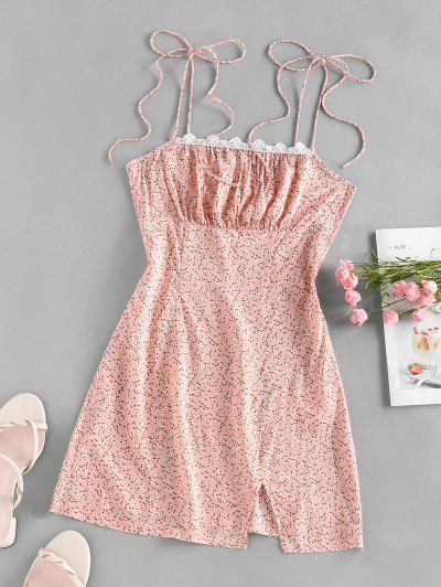 ZAFUL Tiny Flower Print Lace Slip Dress - Light Pink S