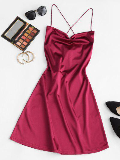 ZAFUL Lace Up Open Back Satin Party Dress - Deep Red S