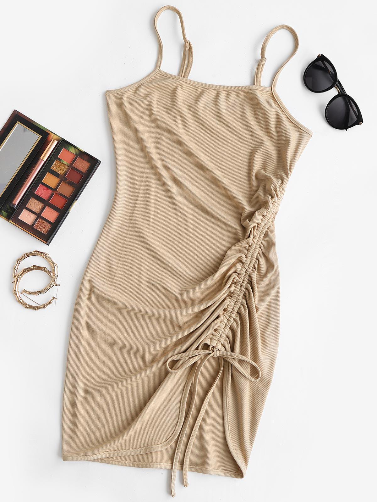 ZAFUL Cinched Ribbed Mini Bodycon Dress