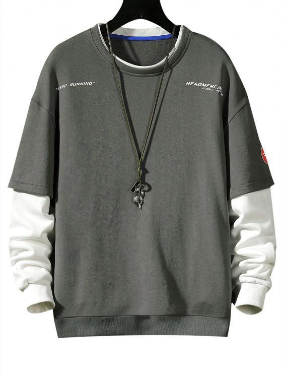 fashion Keep Running Letter Print Faux Twinset Sweatshirt - GRAY S