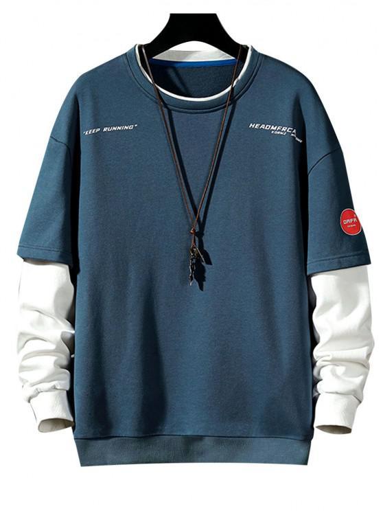 fancy Keep Running Letter Print Faux Twinset Sweatshirt - MIST BLUE M