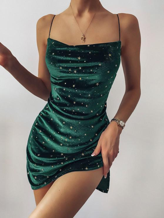 hot Stars Side Slit Cowl Front Velvet Dress - GREEN S