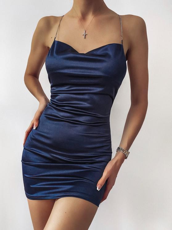 shop ZAFUL Crisscross Chains Backless Shiny Mini Dress - DEEP BLUE L