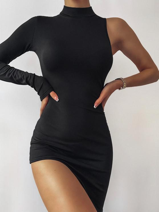 hot Mock Neck Asymmetrical Sleeve Mini Dress - BLACK L