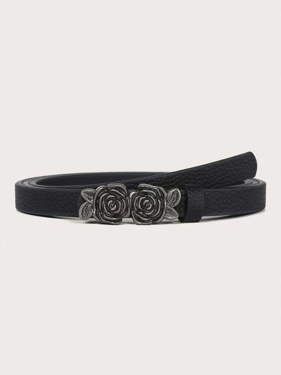 Cinturón Retro Rosa Adornado Hebilla - Negro