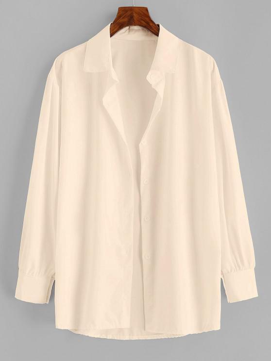 Button Up Drop Shoulder Plain Shirt - القهوة الخفيفة L