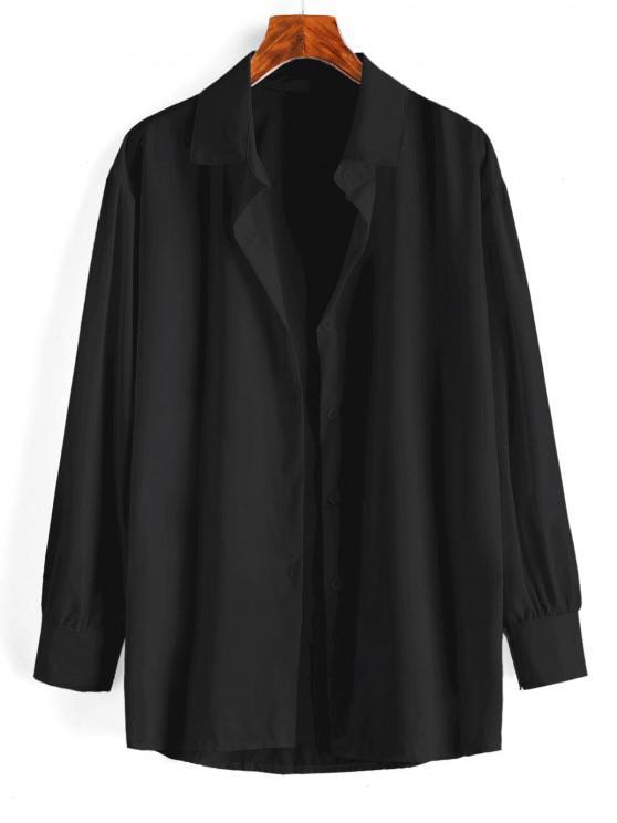 affordable Button Up Drop Shoulder Plain Shirt - BLACK L