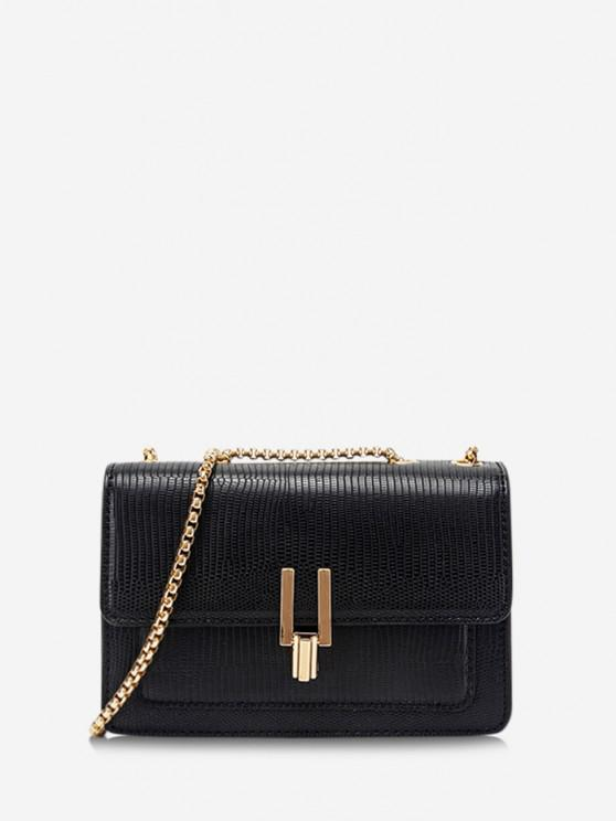 outfit Lizard Embossed Double Chain Strap Mini Crossbody Bag - BLACK