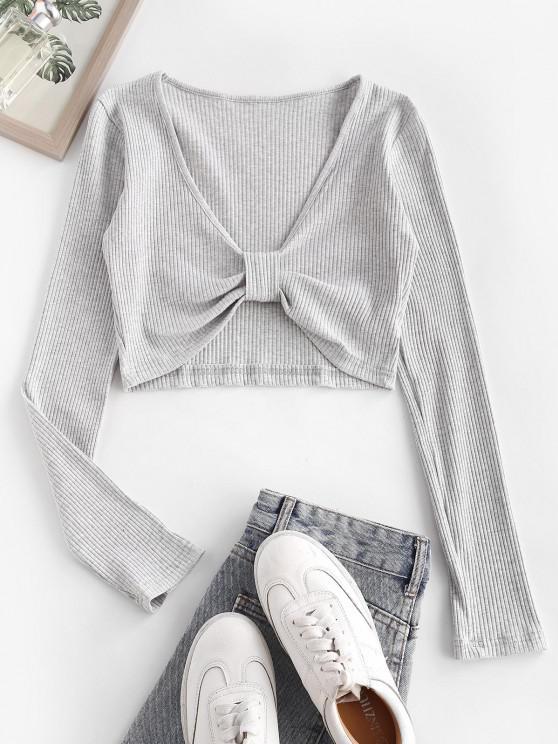 Marled Rib-knit Bow Long Sleeve Crop Top - اللون الرمادي S