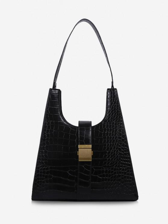 online Buckle Embellished Trapezoid Shoulder Bag - BLACK