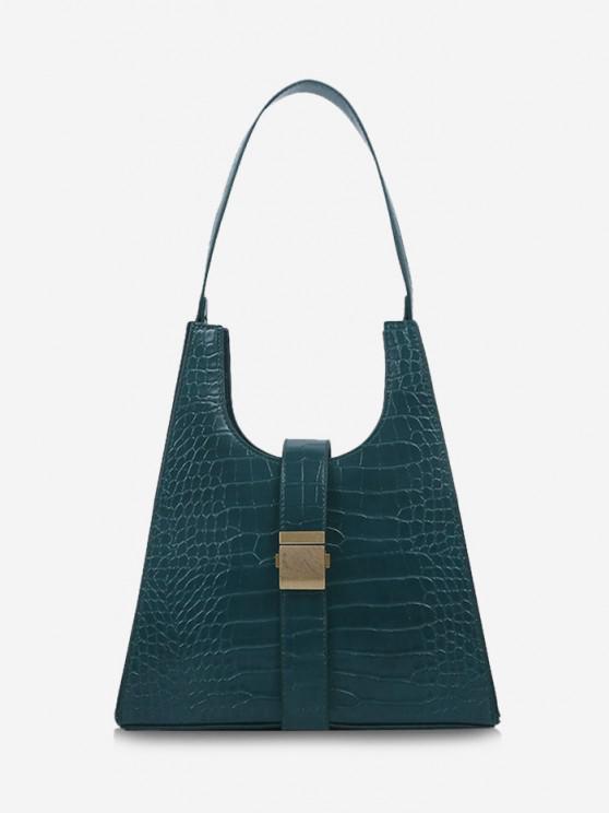new Buckle Embellished Trapezoid Shoulder Bag - GREENISH BLUE