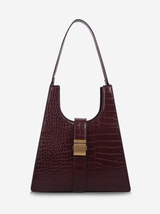 hot Buckle Embellished Trapezoid Shoulder Bag - RED WINE