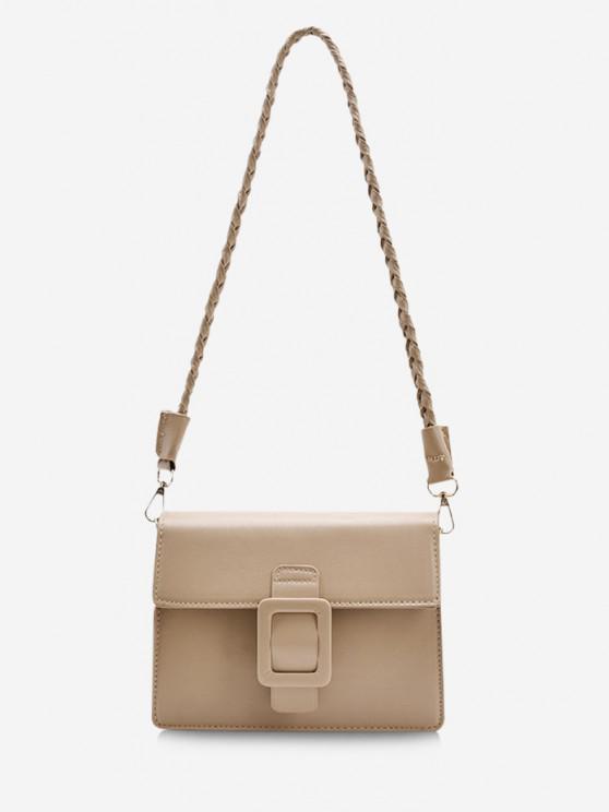 shop Braid Strap Buckle Shoulder Bag - KHAKI