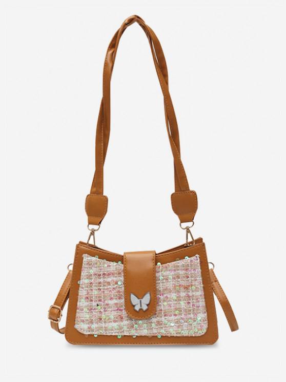 fashion PU Butterfly Sequins Shoulder Bag - BROWN