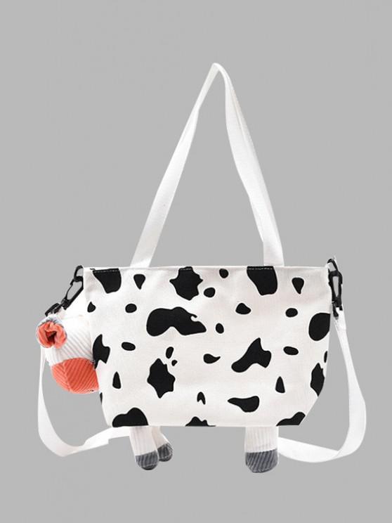 fashion Canvas Milk Cow Crossbody Bag - MILK WHITE