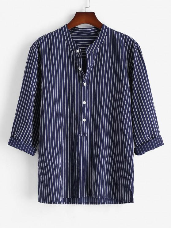 Gestreiftes Hemd mit Halbem Knopf - Tiefes Blau 2XL