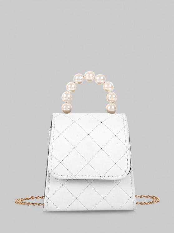 women Faux Pearl Quilted Flap Chain Mini Crossbody Bag - MILK WHITE