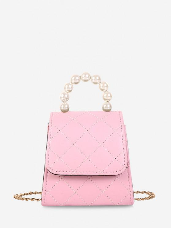 Mini Bolsa de Crossbody de Pérola Artificial - Rosa de Porco