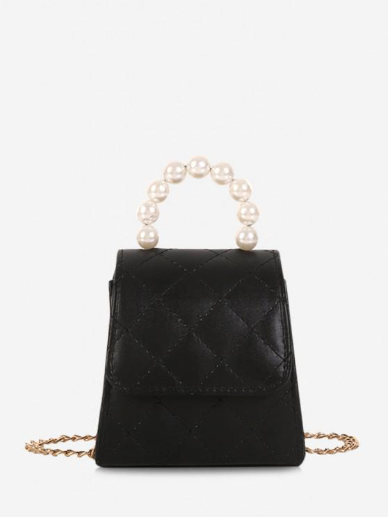 Mini Bolsa de Crossbody de Pérola Artificial - Preto
