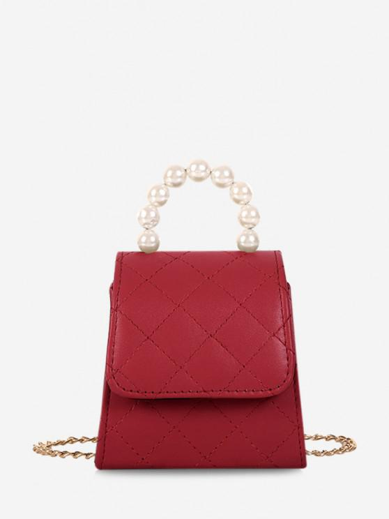 best Faux Pearl Quilted Flap Chain Mini Crossbody Bag - RED WINE