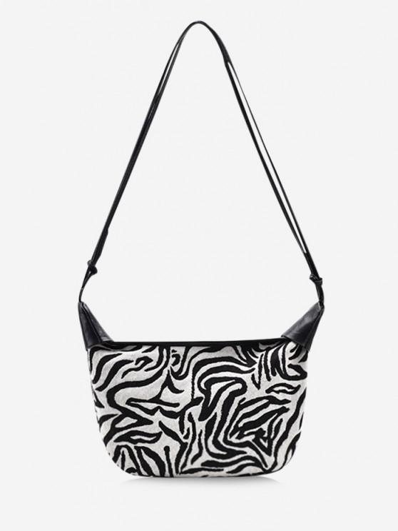 Zebra Stripes Pattern Shoulder Bag - حليب ابيض