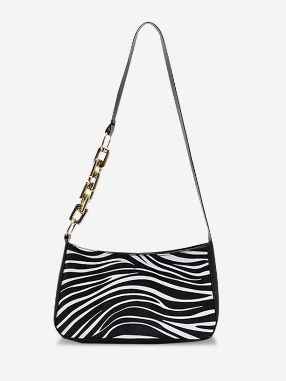 outfits PU Retro Zebra Shoulder Bag - MILK WHITE