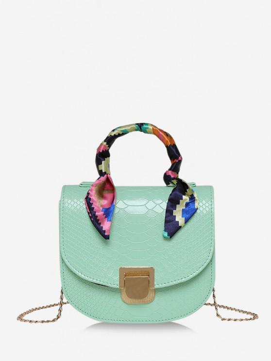lady Scarf-Wrap Handle Textured Chain Mini Crossbody Bag - LIGHT GREEN