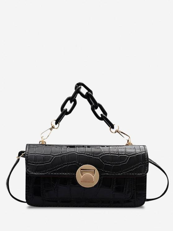 online Retro Stone Grain Chunky Chain Mini Crossbody Bag - BLACK
