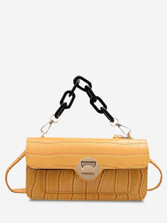 Retro Stone Grain Chunky Chain Mini Crossbody Bag - قضبان ذهبية