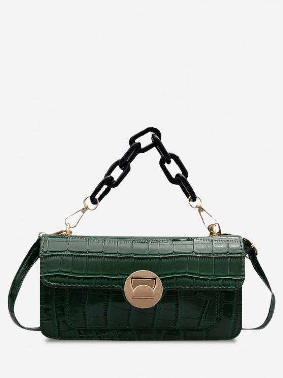 Retro Stone Grain Chunky Chain Mini Crossbody Bag - ديب غرين