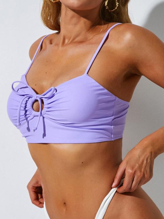 ladies ZAFUL Solid Drawstring Cut Out Bikini Top - LIGHT PURPLE S