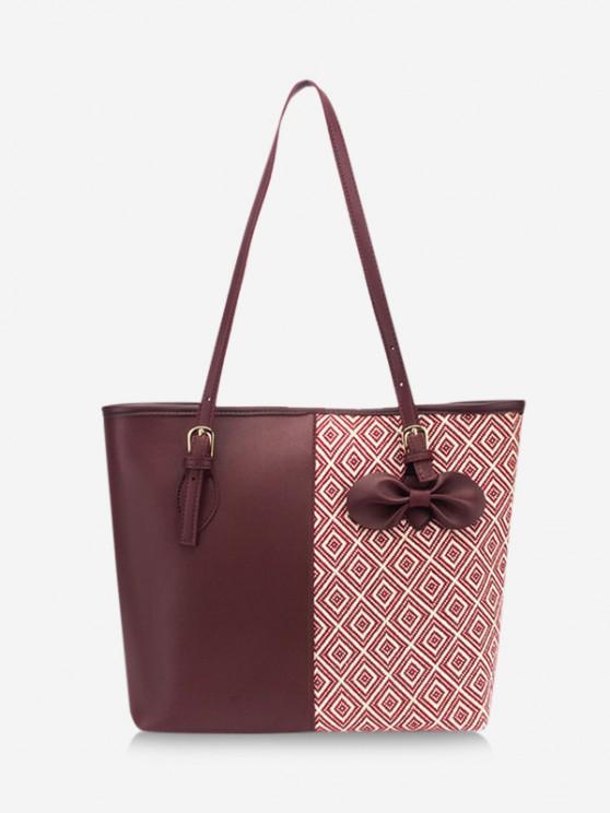 shop Bowknot Rhombus Pattern Tote Bag - RED WINE