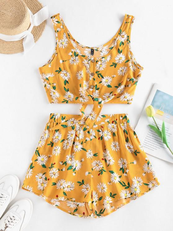 outfit ZAFUL Floral Button Up Tie Hem Wide Leg Shorts Set - DEEP YELLOW M