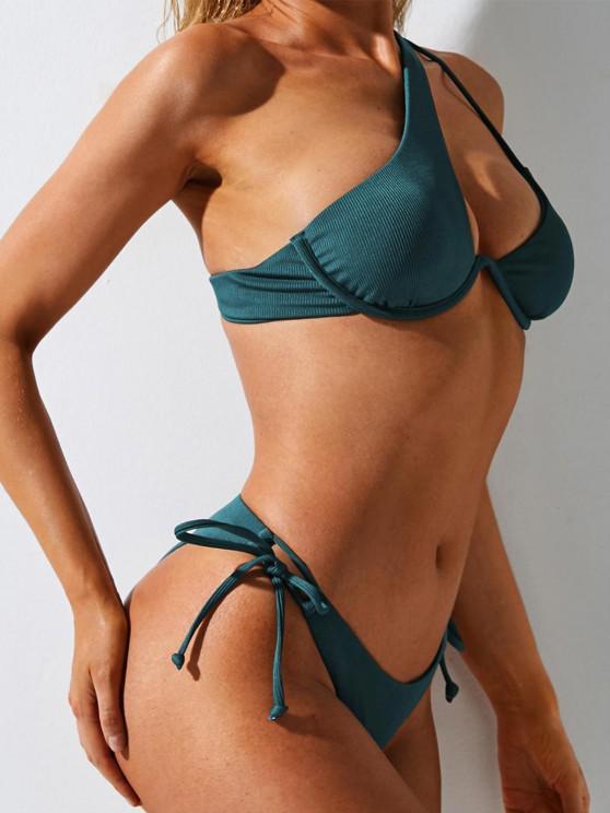 ZAFUL Ribbed One Shoulder Tie Side Underwire Bikini Swimwear - ديب غرين S
