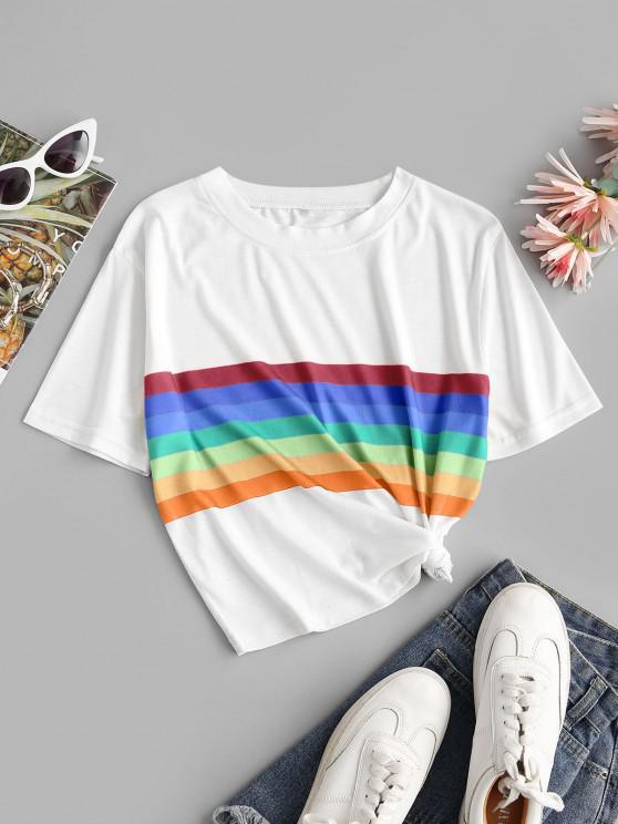 hot Rainbow Striped Short Sleeves Crop Tee - ORANGE M