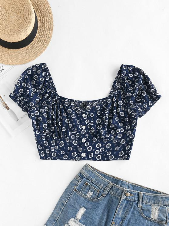 outfits ZAFUL Tiny Floral Crop Milkmaid Blouse - DEEP BLUE L