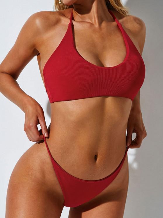 best ZAFUL Tie Side Ribbed Three Piece Tanga Bikini Swimwear - RED S
