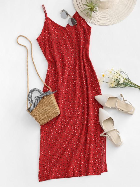 Ditsy Print Slit Midi Dress - أحمر M
