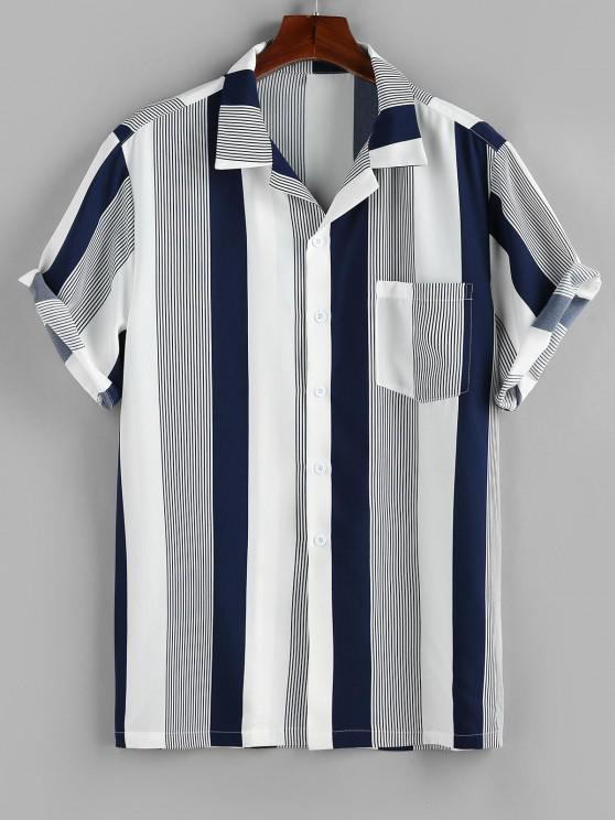womens ZAFUL Button Up Striped Print Pocket Shirt - DEEP BLUE M