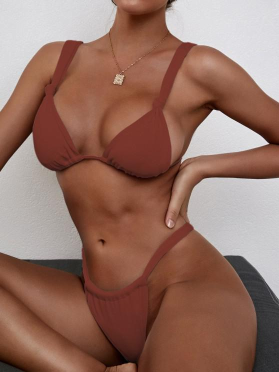 ZAFUL Knots Gathered Ribbed Bikini Swimwear - قهوة S