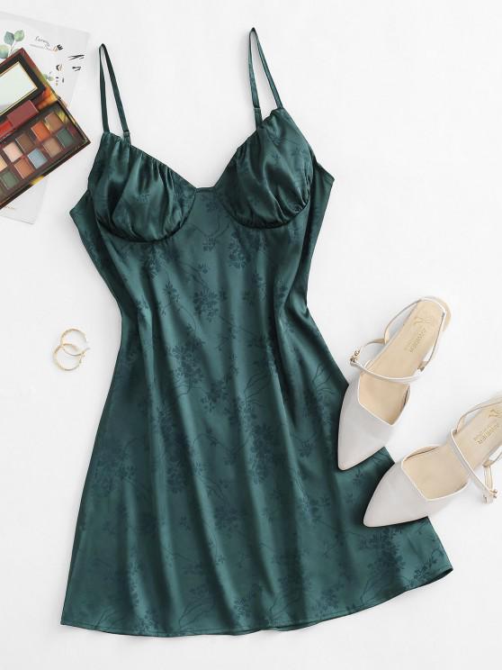 fashion ZAFUL Jacquard Ruched Bust Satin Mini Cami Dress - DEEP GREEN S