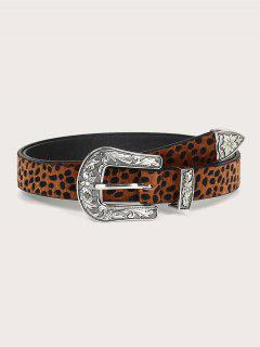 Retro Leopard Print Carved Flower Buckle Belt - Brown