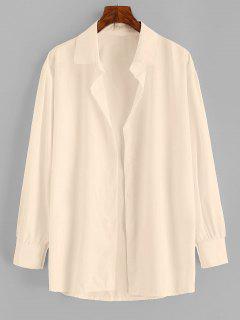 Button Up Drop Shoulder Plain Shirt - Light Coffee S