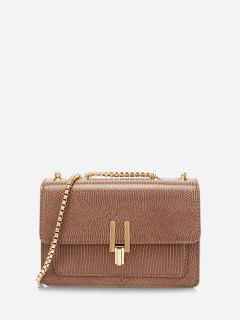 Lizard Embossed Double Chain Strap Mini Crossbody Bag - Brown Bear