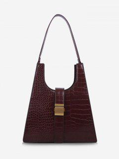 Buckle Embellished Trapezoid Shoulder Bag - Red Wine